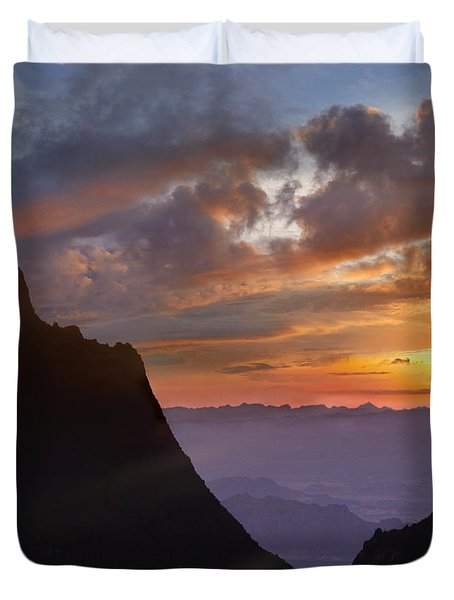 Duvet Cover featuring the photograph The Window At Sunset Big Bend Np Texas by Tim Fitzharris