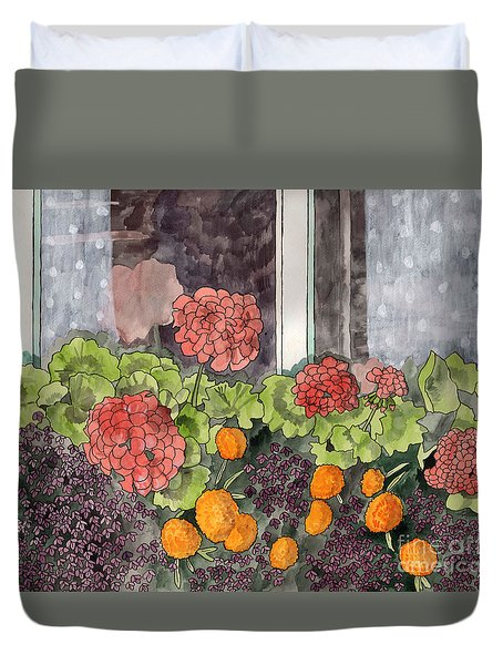 Duvet Cover featuring the painting The Window Box by LeAnne Sowa