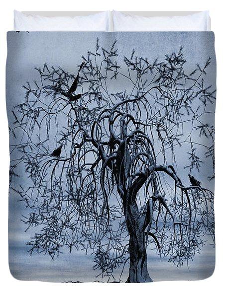 The Wishing Tree Cyanotype Duvet Cover by John Edwards