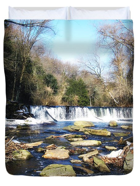 The Wissahickon Creek In February Duvet Cover by Bill Cannon