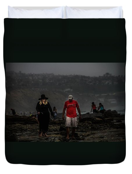 The Witch On The Beach Duvet Cover