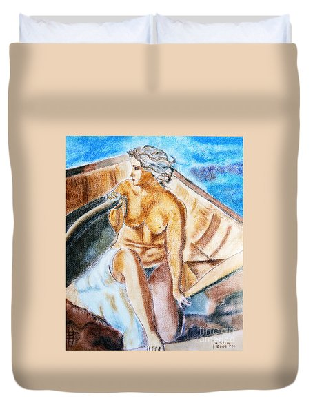 The Woman Rower Duvet Cover by Jasna Dragun