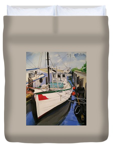 The Wooden Work Boats Duvet Cover
