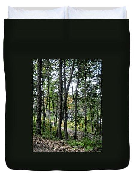 The Woods Coastal Maine Botanical Gardens Duvet Cover by Patricia E Sundik