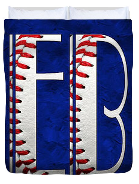 The Word Is Baseball On Blue Duvet Cover by Andee Design