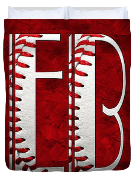The Word Is Baseball On Red Duvet Cover by Andee Design