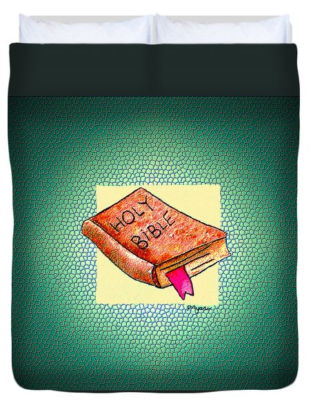 Duvet Cover featuring the painting The Word by Paula Ayers