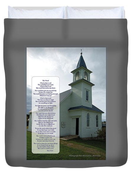 Duvet Cover featuring the photograph The Word by Ron Haist