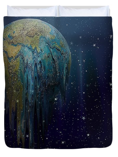 The World Is Melting Duvet Cover by Liane Wright