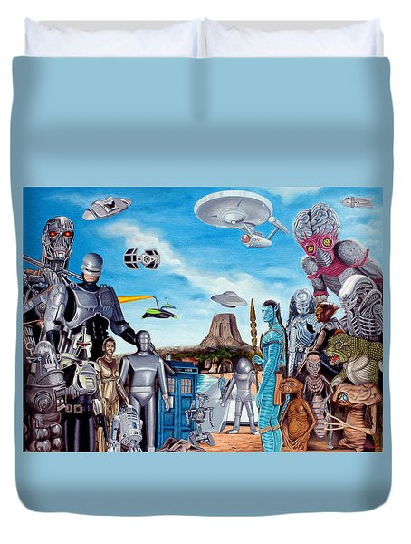 The World Of Sci Fi Duvet Cover by Tony Banos