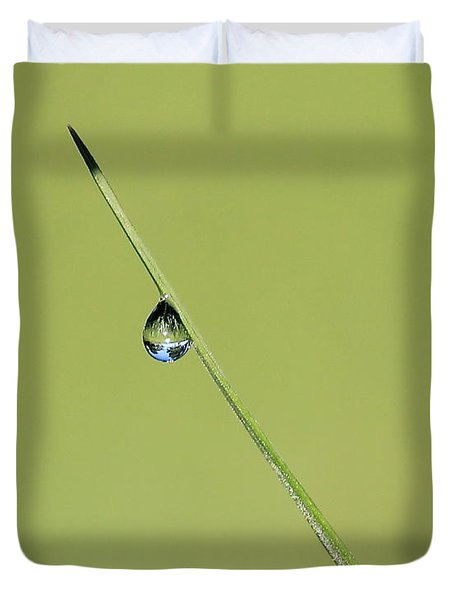 Duvet Cover featuring the photograph The World Within A Dewdrop by Penny Meyers