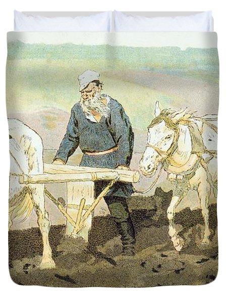 The Writer Lev Nikolaevich Tolstoy Duvet Cover by Ilya Efimovich Repin