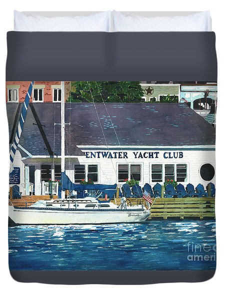 Duvet Cover featuring the painting The Yacht Club by LeAnne Sowa