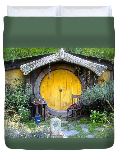 Yellow Hobbit Door Duvet Cover