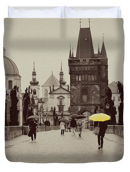 The Yellow Umbrella Duvet Cover by Ivy Ho