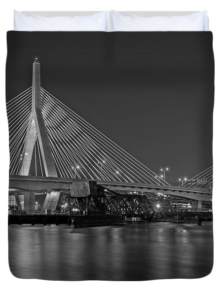 The Zakim Bridge Bw Duvet Cover