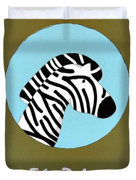 The Zebra Cute Portrait Duvet Cover