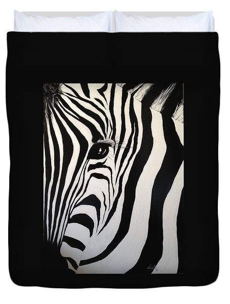 Duvet Cover featuring the painting The Zebra With One Eye by Alan Lakin