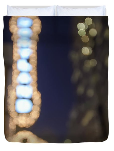Theater Marquee Lights On Broadway Bokeh Background Duvet Cover