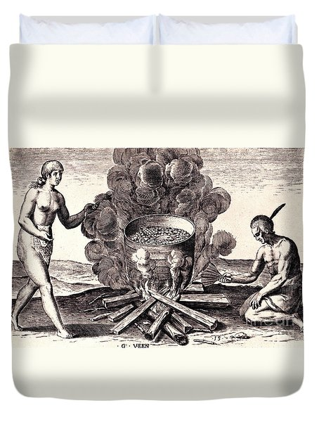 Duvet Cover featuring the drawing Their Seetheynge Of Their Meate In Earthen Pottes by Peter Gumaer Ogden