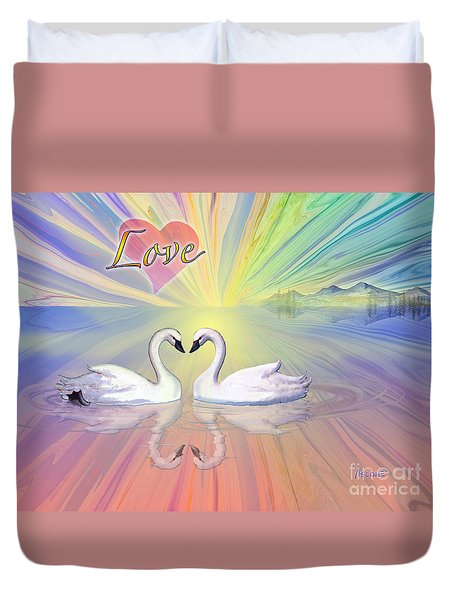 Duvet Cover featuring the painting Themes Of The Heart-love by Teresa Ascone