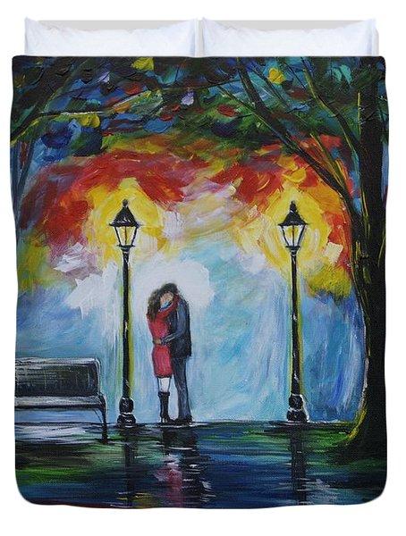 Then He Kissed Me Duvet Cover by Leslie Allen