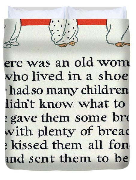 There Was An Old Women Who Lived In A Shoe Duvet Cover by Mother Goose