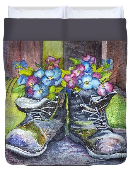 These Boots Were Made For Planting Duvet Cover by Carol Wisniewski