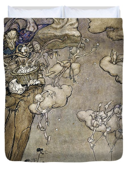 They Were Ruled By An Old Squaw Spirit Duvet Cover by Arthur Rackham