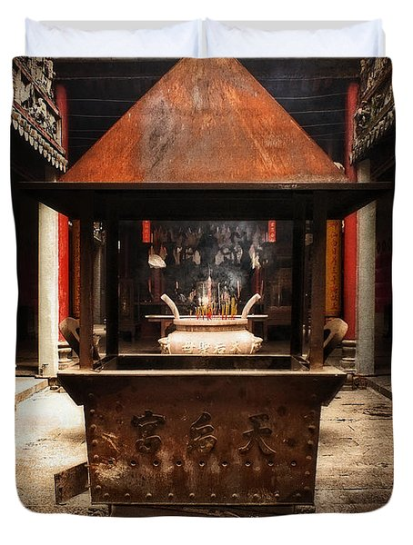 Duvet Cover featuring the photograph Thien Hau Temple  by Lucinda Walter