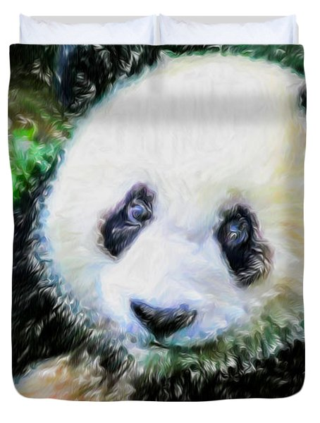 Thinking Of David Panda Duvet Cover by Lanjee Chee
