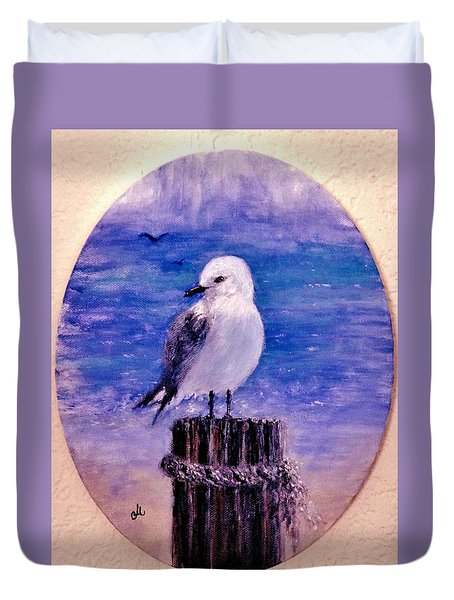 Duvet Cover featuring the painting Thinking Of You.. by Cristina Mihailescu