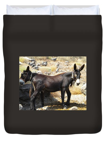 Duvet Cover featuring the photograph Thirasia  Donkeys Santorini Greece by Colette V Hera  Guggenheim