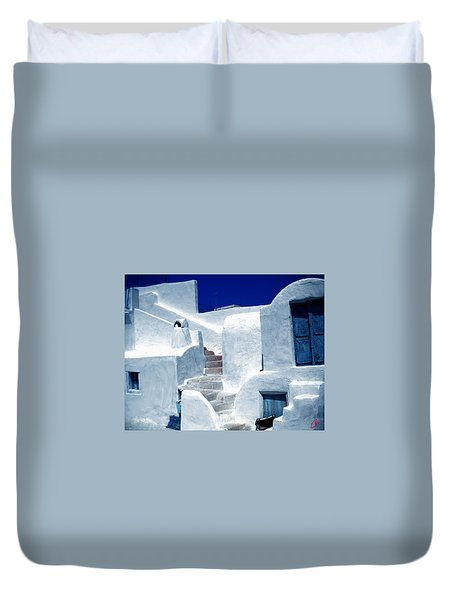Thirasia Island Ancient House Near Santorini Greece Duvet Cover