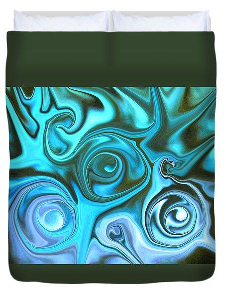 Turquoise  - Satin Swirls Duvet Cover
