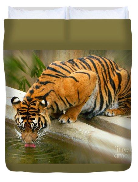 Thirsty Sumatran Tiger Duvet Cover