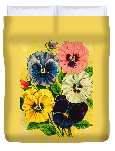 Pansy Flowers Antique Packaging Label  Duvet Cover