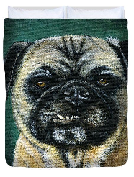 This Is My Happy Face - Pug Dog Painting Duvet Cover
