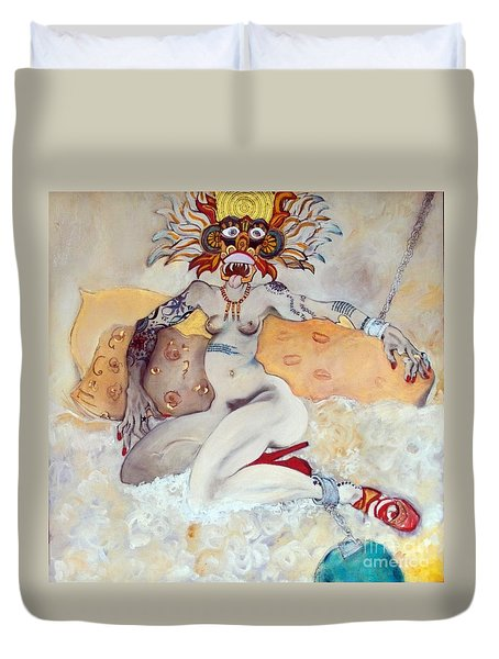Duvet Cover featuring the painting This Is Not The Right Poem by Carolyn Weltman
