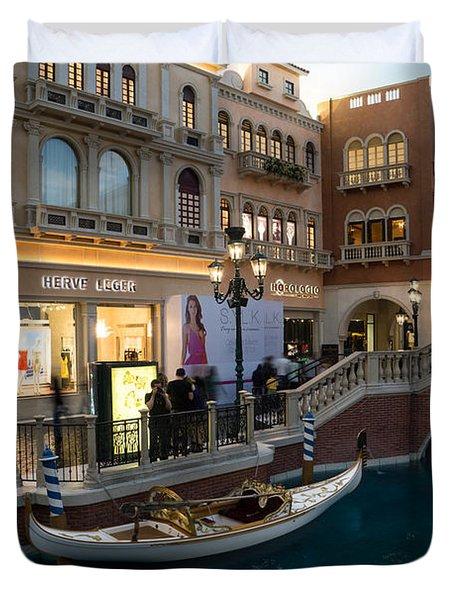 It's Not Venice - The White Wedding Gondola Duvet Cover