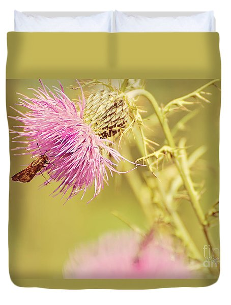 Thistle And Friend Duvet Cover by Lois Bryan