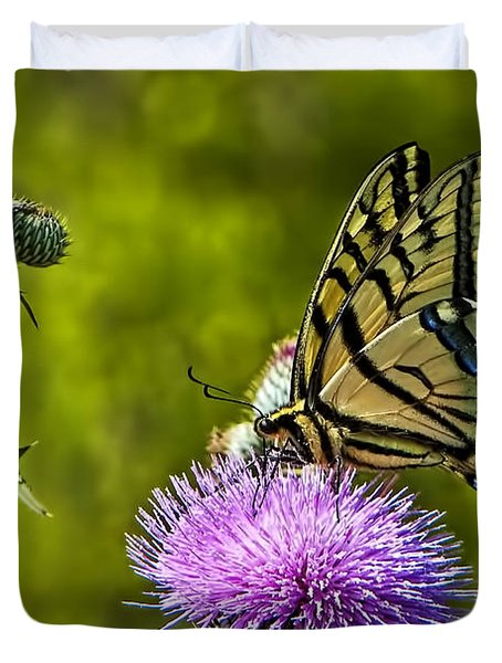 Duvet Cover featuring the photograph Thistle Do Just Fine by Gary Holmes