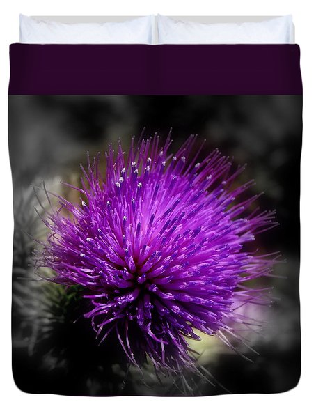 Duvet Cover featuring the photograph Thistle Flower by Nick Kloepping