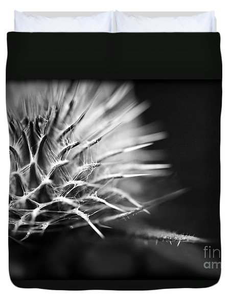 Duvet Cover featuring the photograph Thistle In Monochrome by Liz  Alderdice