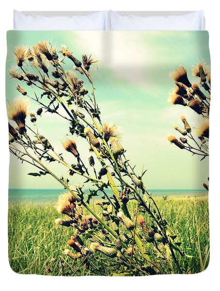 Thistle On The Beach  Duvet Cover by Michelle Calkins
