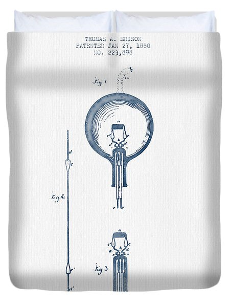 Thomas Edison Electric Lamp Patent From 1880 - Blue Ink Duvet Cover