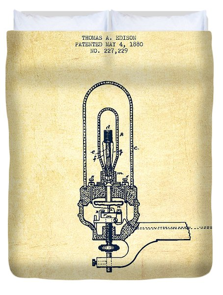 Thomas Edison Electric Lights Patent From 1880 - Vintage Duvet Cover