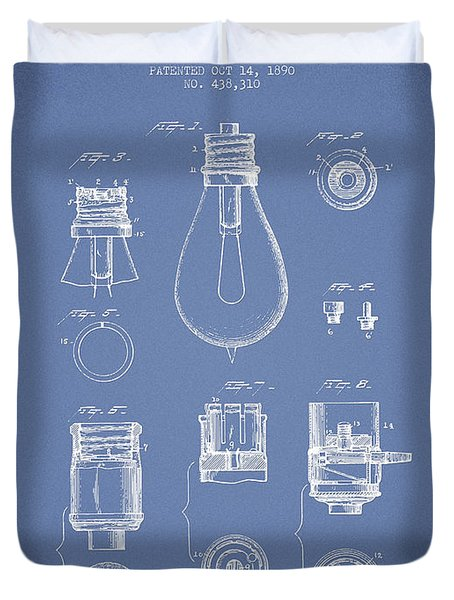 Thomas Edison Lamp Base Patent From 1890 - Light Blue Duvet Cover