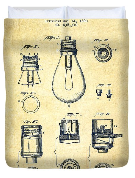 Thomas Edison Lamp Base Patent From 1890 - Vintage Duvet Cover