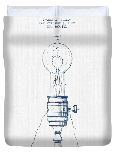 Thomas Edison Vintage Electric Lamp Patent From 1882  - Blue Ink Duvet Cover